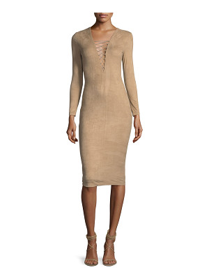 T BY ALEXANDER WANG Stretch Faux-Suede Long-Sleeve Lace-Up Midi Dress