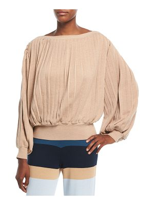 Tabula Rasa Rumba Boat-Neck Pleated Long-Sleeve Sweater