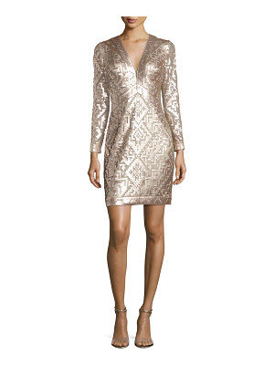 Tadashi Shoji Long-Sleeve Sequin Grid Sheath Dress