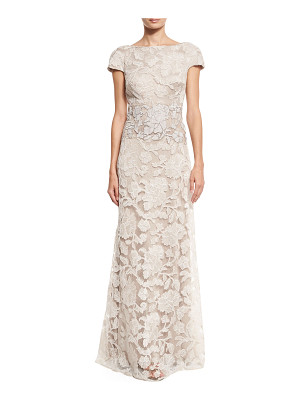 Tadashi Shoji Short-Sleeve Floral Lace Tulle Gown