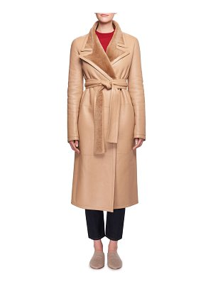 The Row Cintry Belted Long Leather Coat with Shearling