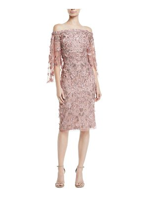 Theia Off-the-Shoulder 3-D Floral Embroidery Sheath Dress