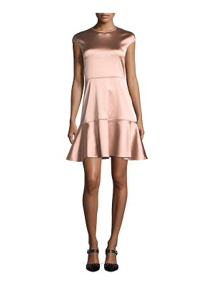THEORY Essential Flare Crewneck A-Line Satin Dress