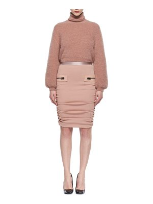 Tom Ford Leather-Trim Shirred Pencil Skirt