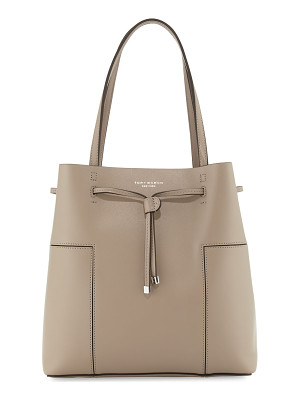 TORY BURCH Block-T Leather Bucket Tote Bag