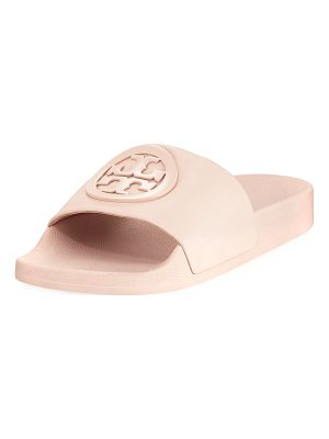 Tory Burch Lina Leather Flat Pool Slide Sandals