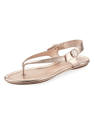 TORY BURCH Minnie Metallic Flat Travel Sandal