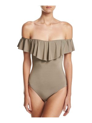 TRINA TURK Studio Solids Off-The-Shoulder One-Piece Swimsuit