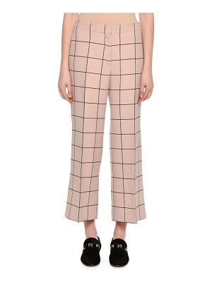VALENTINO Cropped Wide-Leg Windowpane Trousers