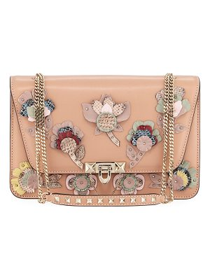 VALENTINO Demilune Flowers Vitello Shoulder Bag