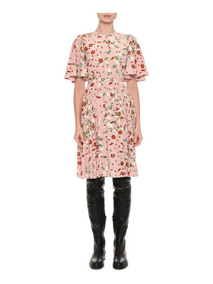 VALENTINO Floral-Print Flutter-Sleeve Dress