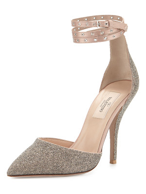 Valentino Glitter Pointed-Toe Ankle-Wrap Pump