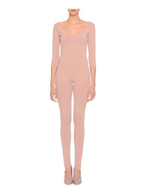 Valentino Knit 3/4-Sleeve Scoop-Neck Jumpsuit