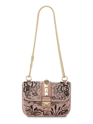 VALENTINO Lock Small Beaded Floral Shoulder Bag
