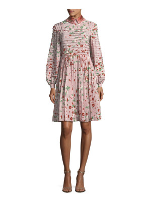VALENTINO Long-Sleeve Floral-Print Silk Dress
