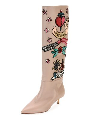 VALENTINO Loveblade Twist-Heel Embellished Knee Boot