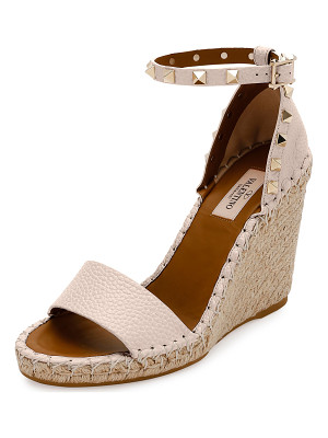 Valentino Rockstud Double Espadrille Wedge Sandals