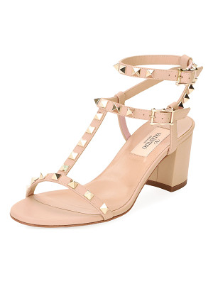 VALENTINO Rockstud Leather Low-Heel Sandal