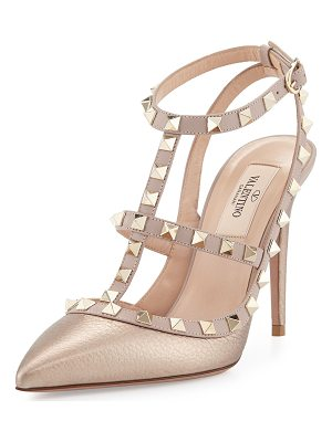 VALENTINO Rockstud Metallic Leather T-Strap Pump