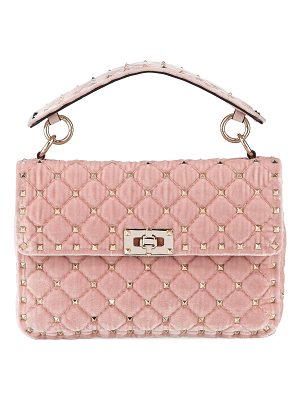 VALENTINO Rockstud Spike Mediumquilted Velvet Shoulder Bag