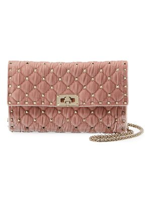Valentino Rockstud Spike Quilted Velvet Wallet on Chain