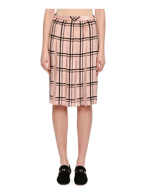 Valentino Sequined Windowpane Skirt with Sheer Pleats