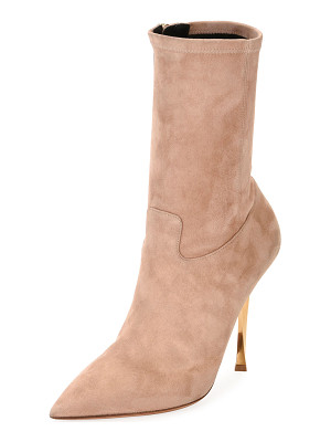 VALENTINO Stretch-Suede Point-Toe Mid-Calf Boot