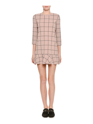 VALENTINO Windowpane 3/4-Sleeve Flounce-Hem Dress