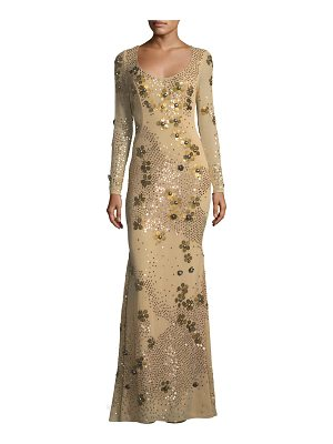 ZAC ZAC POSEN Carey Embellished Floral Sequin Long-Sleeve Gown