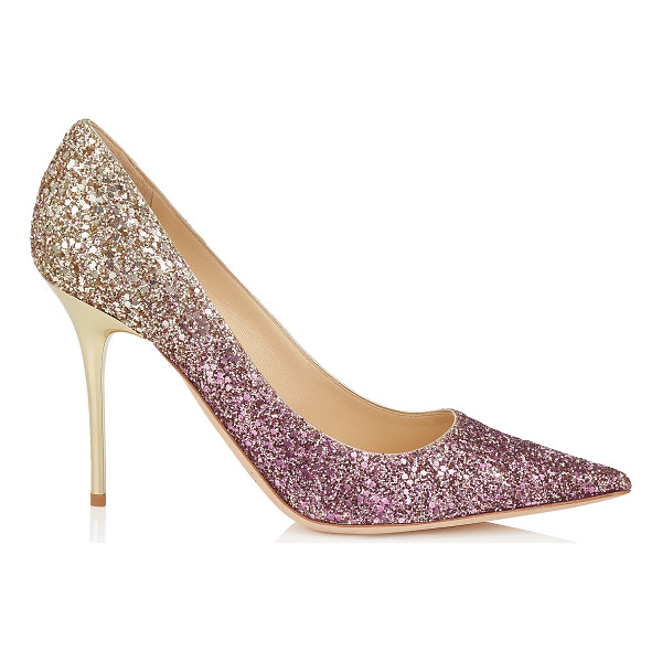 JIMMY CHOO ABEL Boho Pink and Gold Coarse Glitter Dégradé Pointy Toe Pumps - The Abel pointy toe pump is characterized by its clean,...