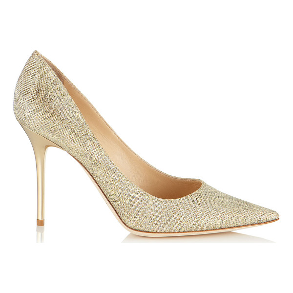 JIMMY CHOO Abel gold lamé glitter pointy toe pumps - These elegant stiletto pumps with signature spike heel and...