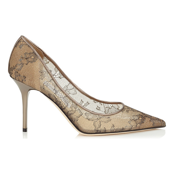 JIMMY CHOO Agnes light honey metallic lace pointy toe pumps - The Agnes pointy toe pump is characterized by its clean,...