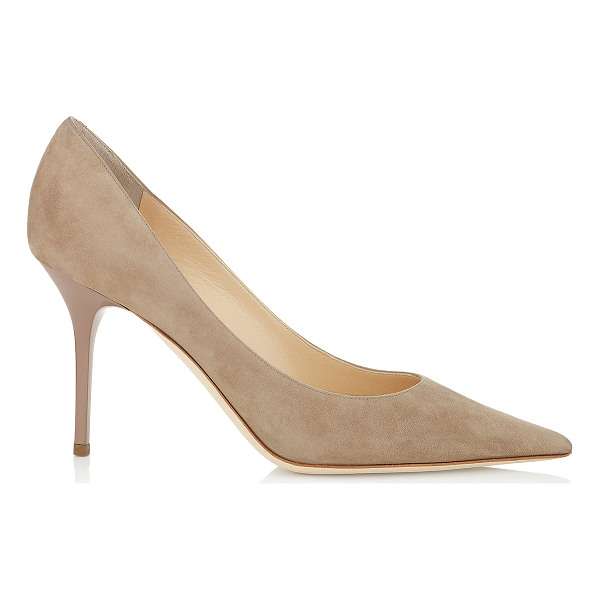 JIMMY CHOO Agnes nude suede pointy toe stiletto pumps - Suede stiletto pumps are a timeless classic that will bring...