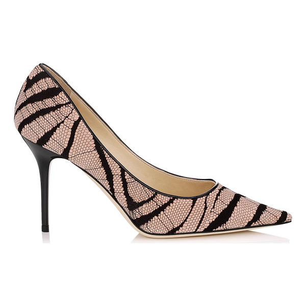 JIMMY CHOO Agnes vintage rose zebra lace on suede pointy toe pumps - A pointy toe pump in a clean, simple silhouette, on an...