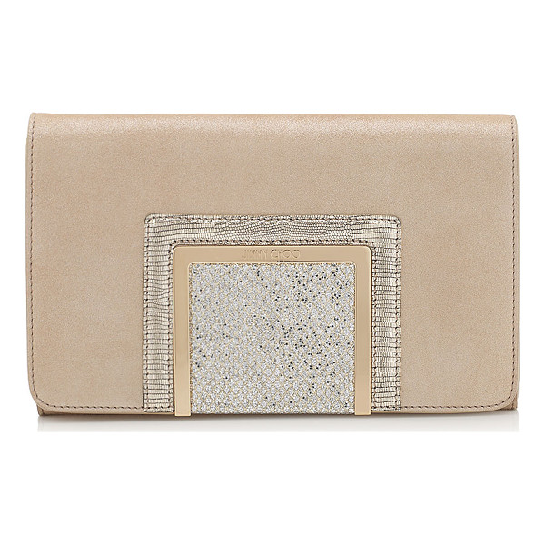 JIMMY CHOO Alara champagne shimmer suede and glitter fabric clutch bag - Alara is a new modern day-to-night clutch bag,...