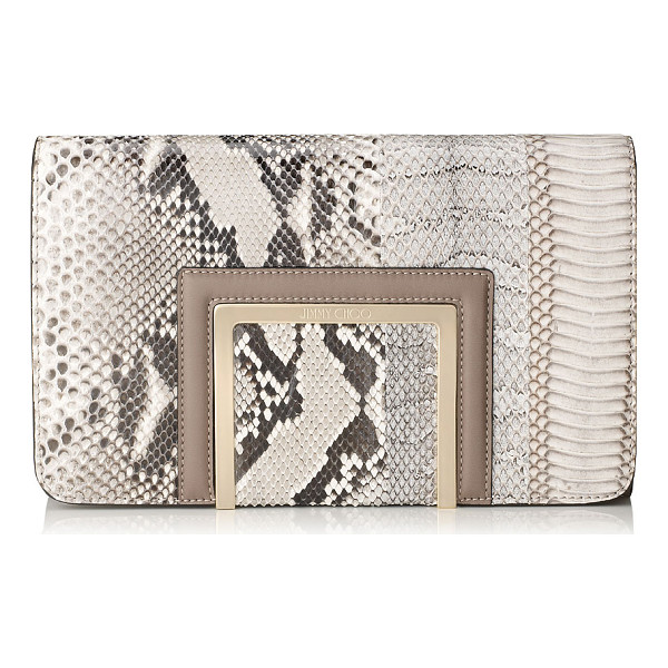 JIMMY CHOO Alara natural striped exotic patchwork and soft smooth leather clutch bag - Alara is a new modern day-to-night clutch bag,...