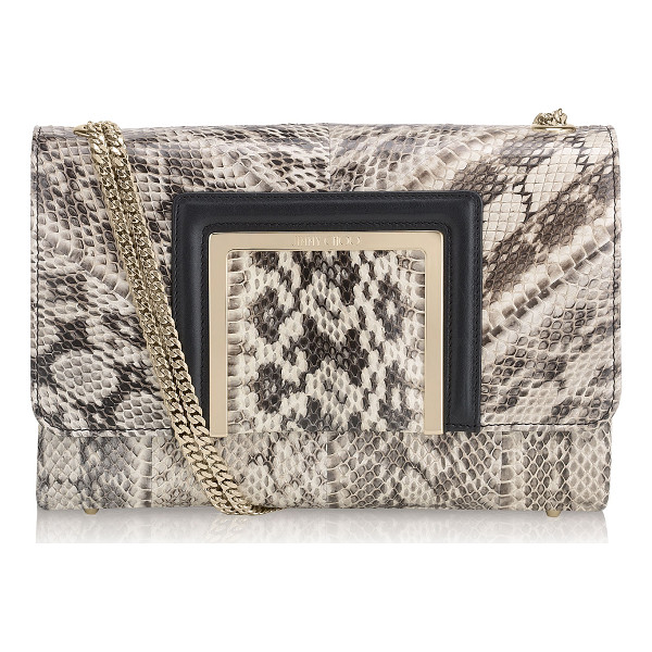 JIMMY CHOO Alba natural gloss elaphe shoulder bag - A classic shape with a modern edge. It features a double...