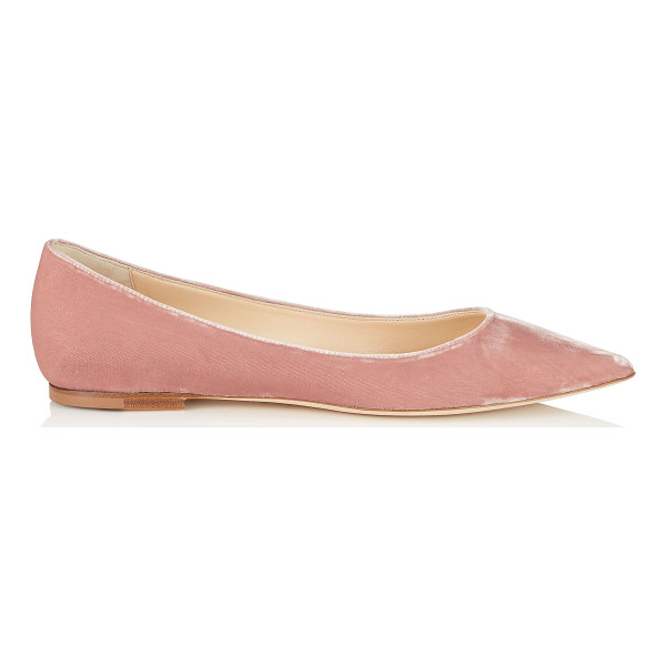 JIMMY CHOO Alina ballet pink velvet pointy toe flats - A pointy toe flat pump in a clean, simple silhouette....