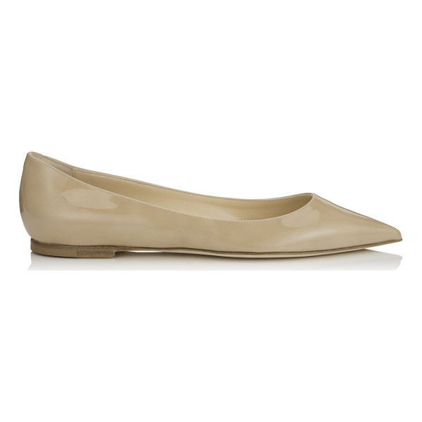 JIMMY CHOO ALINA Nude Patent Pointy Toe Flats - A pointy toe flat pump in a clean, simple silhouette....