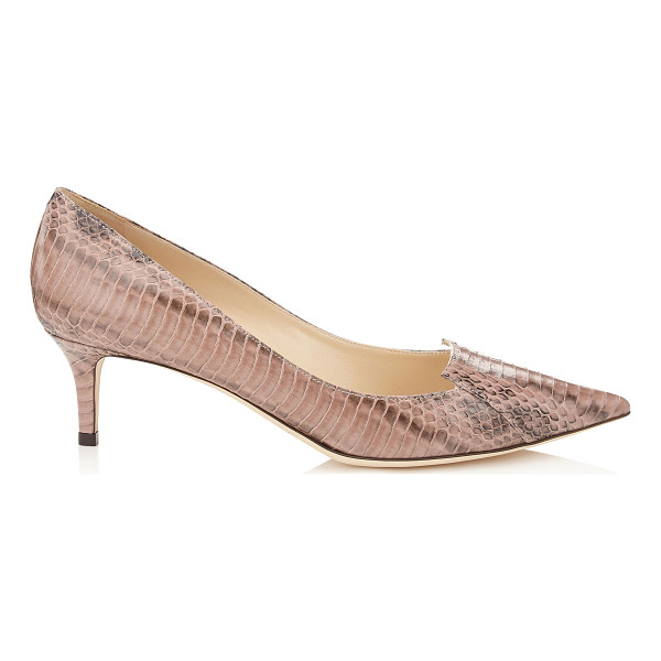 JIMMY CHOO Allure ballet pink glossy panelled elaphe pointy toe pumps - Characterised by its cut out tongue detailing across the...