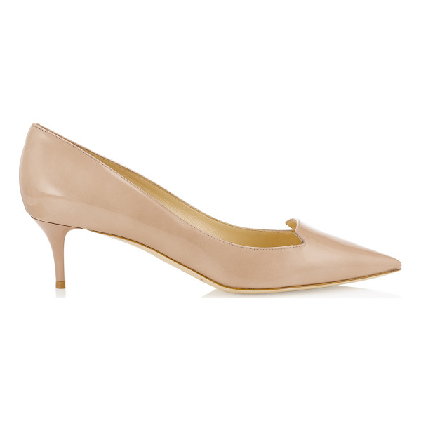 JIMMY CHOO ALLURE Nude Patent Leather Pointy Toe Pumps - The pretty toe shape and low heel make these the perfect...