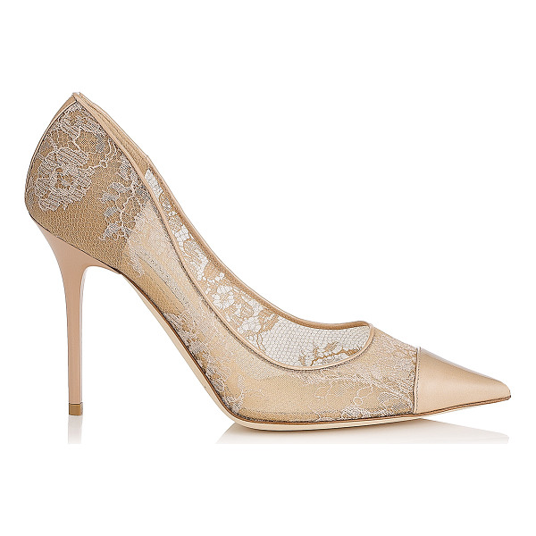 JIMMY CHOO Amika nude lace and patent pointy toe pumps - Romantic lace feels modern on the sharp silhouette of these...