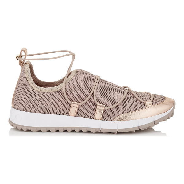 JIMMY CHOO ANDREA Tea Rose Fabric Mesh Trainers - A mix of stretch mesh materials, tonal detailing and rich...