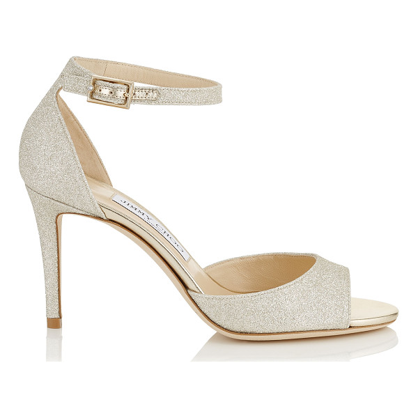 JIMMY CHOO ANNIE 85 Platinum Ice Dusty Glitter Peep Toe Sandals - These peep toe sandals have a retro feel, with a closed...