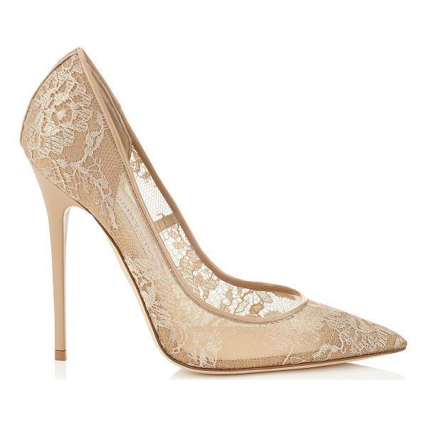 JIMMY CHOO Anouk nude lace pointy toe pumps - The Anouk pointy toe pump is characterized by its clean,...