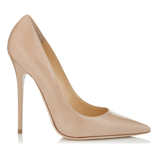JIMMY CHOO ANOUK Nude Patent Pointy Toe Stiletto Pumps - The perfect pair of nude patent stiletto pumps is a...