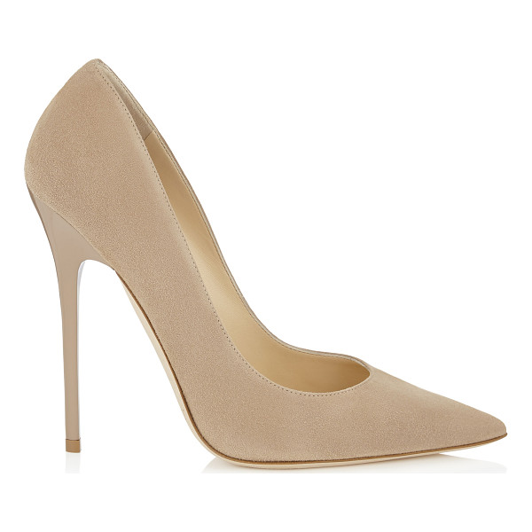 JIMMY CHOO ANOUK Nude Suede Pointy Toe Pumps - The Anouk pointy toe pump is characterized by its clean,