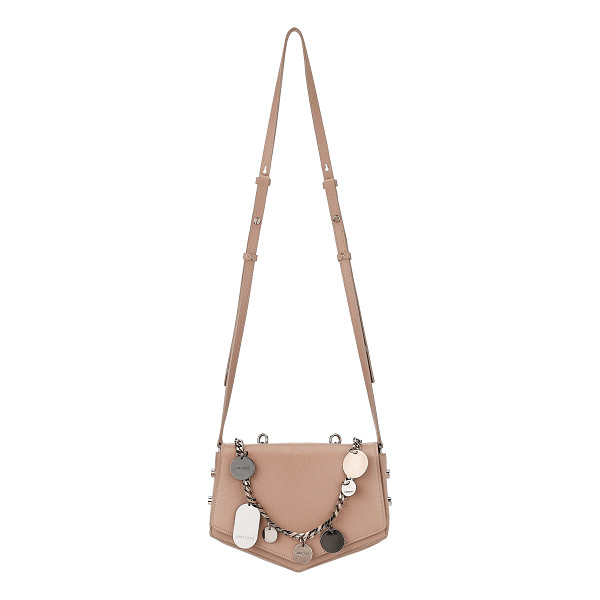 JIMMY CHOO ARROW Ballet Pink Soft Grained Leather Cross Body Bag with Chain and Charms - Reflective of its name, this cross body bag's softly...