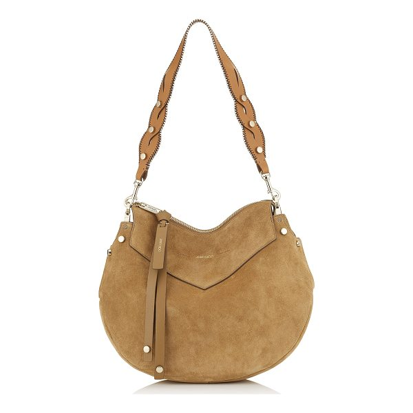 JIMMY CHOO ARTIE Hazel Suede and Cuoio Leather Mix Shoulder Bag - Introducing Artie, a timeless hazel shoulder bag with a...