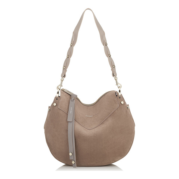 JIMMY CHOO ARTIE Light Mocha Suede Shoulder Bag - Artie is a practical yet timeless hobo bag, featuring a...